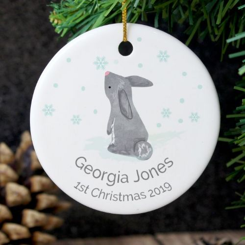 Personalised 1st Christmas Bunny Round Ceramic Decoration